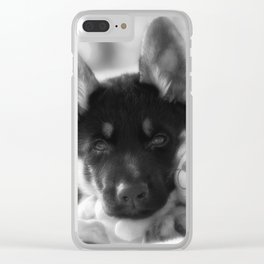 Black white portrait of a shepherd puppy. Clear iPhone Case