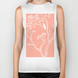 Crow in a tree peach color Biker Tank