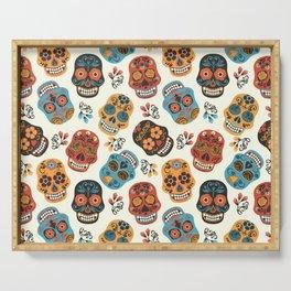 Colorful retro floral sugar skulls pattern Serving Tray