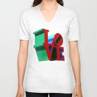 philadelphia V-neck T-shirts featuring Love Philadelphia by PandaTheGreat