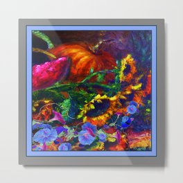 Sunflowers, Morning Glories Still Life In Blue-Grey Metal Print