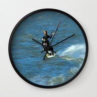 surfer Wall Clocks featuring Surfer by Laake-Photos