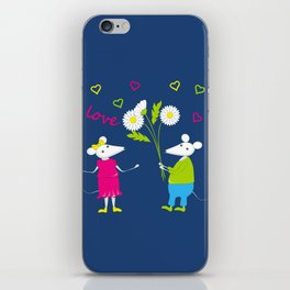 pair of white enamored mouses iPhone Skin