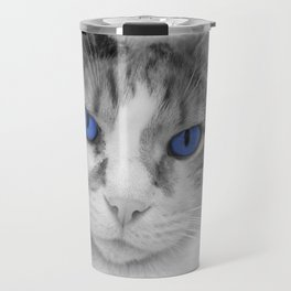 Cat with Blue Eyes Travel Mug