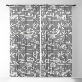 JUNGLE THRIVE CHARCOAL Sheer Curtain