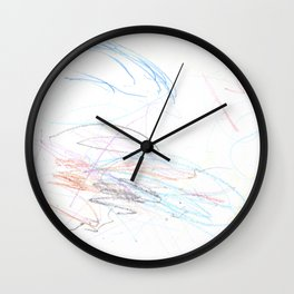 Mostly Blue Scribbles Wall Clock