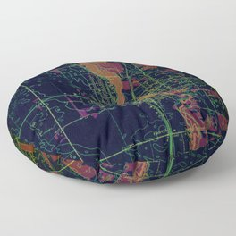 Park Rapids old map year 1969, united states old maps, colorful art Floor Pillow