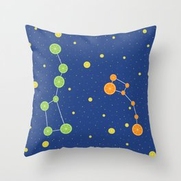 Citrus constellations Throw Pillow