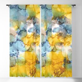 Alcohol Ink 'Fools Gold' Blackout Curtain