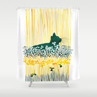 clover Shower Curtains featuring Clover Cat by Priscilla Moore