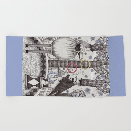 Winter Circus Beach Towel