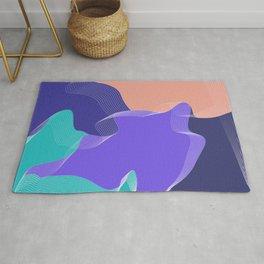 Geometric minimal color pattern purple coral Rug