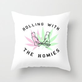 Rolling with the Homies Throw Pillow