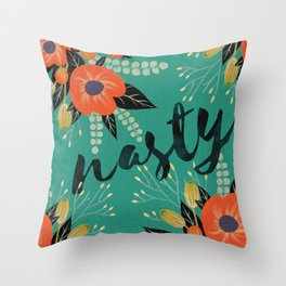 Nasty - Poppy Floral Teal Throw Pillow