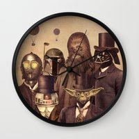 gold Wall Clocks featuring Victorian Wars  by Terry Fan