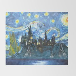 Starry Night in Hogwarts Castle - HP Throw Blanket