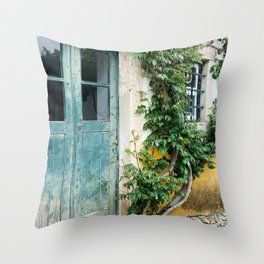 Portuguese door, weathered wood. Plantlife all around Throw Pillow