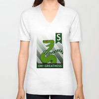 slytherin V-neck T-shirts featuring Slytherin Snake by makoshark