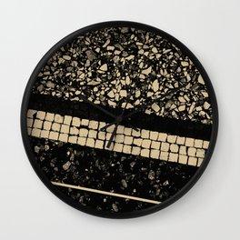 Terrazzo Pattern Black & Gold Sepia #1 #texture #decor #art #society6 Wall Clock