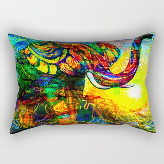 """ The old elephant knows where to find some water. "" Rectangular Pillow"