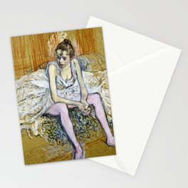 Henri De Toulouse Lautrec -  A Seated Dancer With Pink Stockings Stationery Cards