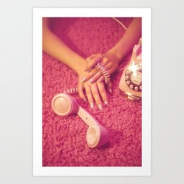 Hands with phone on pink carpet Art Print