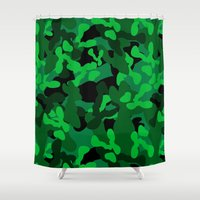 camouflage Shower Curtains featuring Camouflage (Green) by 10813 Apparel