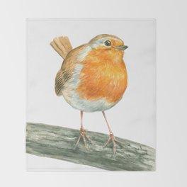 Robin bird watercolor art Throw Blanket