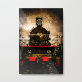 Vintage Steam Engine Locomotive - Old Timer Metal Print
