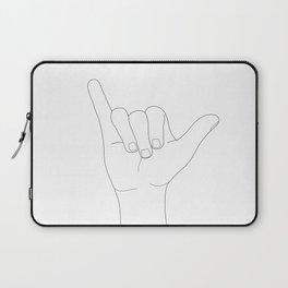 Minimal Line Art Shaka Hand Gesture Laptop Sleeve