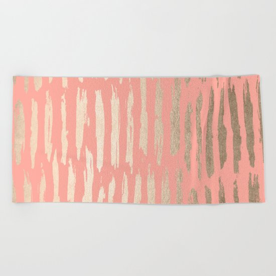 Vertical Dash Tahitian Gold on Coral Pink Stripes Beach Towel