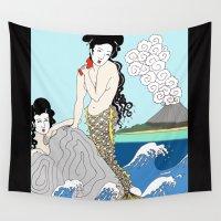 mermaids Wall Tapestries featuring Japanese Mermaids by Paul Bridgeman