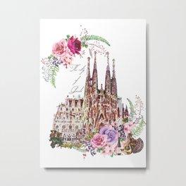 Barcelona Spain La Sagrada Familia Vintage Metal Print