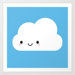 Happy Kawaii Cloud Art Print