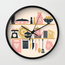 Colorful Cooking In A Mid Century Scandinavian Kitchen Wall Clock