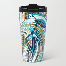 Zentangle head of the lion on the grunge background Travel Mug