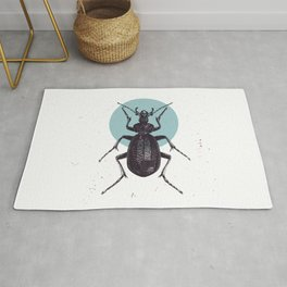 Black Beetle bug with blue moon Rug