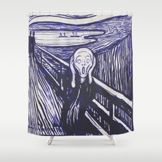 The Scream's Haze (dark blue) Shower Curtain
