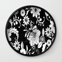 floral pattern Wall Clocks featuring Floral pattern by Laake-Photos