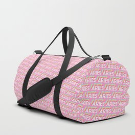 Aries Trendy Rainbow Text Pattern (Pink) Duffle Bag