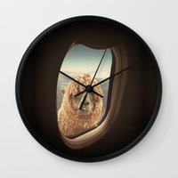 llama Wall Clocks featuring QUÈ PASA? by Monika Strigel