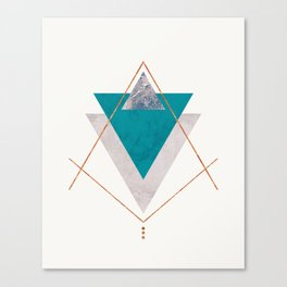 TEAL COPPER AND BLUSH GEOMETRIC Canvas Print