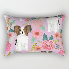 Papillon pet friendly small cute dog breed must have gift for dog lover florals dog pattern print Rectangular Pillow