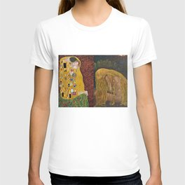 The Kiss & The Girl Who Lost Everything collage by Gustav Klimt and John Bauer portrait painting T-shirt