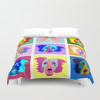 border collie Duvet Covers featuring Border Collie Pop Art by Pound Designs