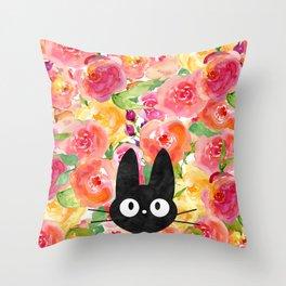 Jiji in Bloom Throw Pillow