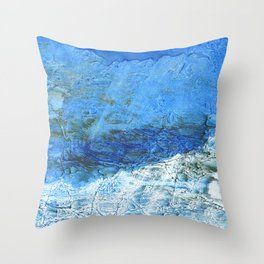 Corn flower blue colorful watercolor pattern Throw Pillow