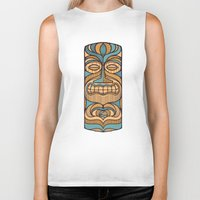tiki Biker Tanks featuring Tiki by Brad Hansen