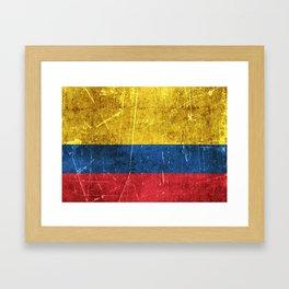 Vintage Aged and Scratched Colombian Flag Framed Art Print