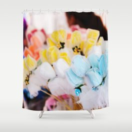 Colorful flowers at bazaar Shower Curtain